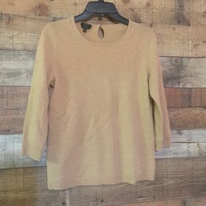 Talbots tan cashmere sweater, size medium petite